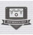 medical kit logo or label template with blurred vector image