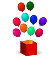 open box with balloons vector image vector image