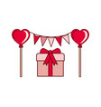 party garland with gift box isolated icon vector image vector image