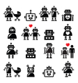 Robot family female baby robot icons set vector image vector image