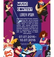 Rock fest banner with musicians vector image vector image