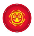 round metallic flag of kyrgyzstan with screws vector image vector image