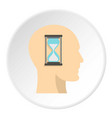sandglass inside a man head icon circle vector image vector image