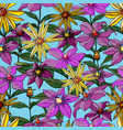 seamless pattern composed of flowers of lilies vector image