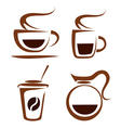 set of coffee cups icons vector image vector image