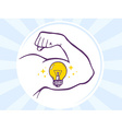 strong man hand with icon of bulb light vector image vector image
