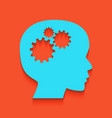 thinking head sign whitish icon on brick vector image vector image