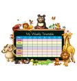 timetable template with many animals on white vector image