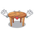 tongue out wooden table isolated on the mascot vector image