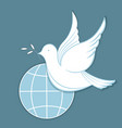 white dove with an olive branch against the vector image vector image