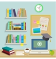 Workplace with computer for online education vector image