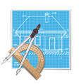 Layout with Protractor vector image