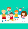 cartoon children comic characters group vector image