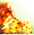 Silhouette of the woman dancing in the autumn vector image