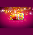 2019 happy new year with 3d gold vector image vector image