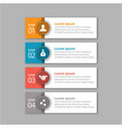 4 steps of infographic with orange blue red and vector image vector image