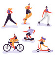 active people exercising outdoor activity running vector image