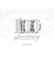 anniversary 100 silver 3d numbers vector image vector image