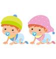 baby boy and girl crawling