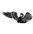 black silhouette cartoon beauty swan floats on vector image