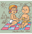 boy and girl on mat vector image