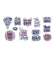 bundle of trendy valentine s day lettering vector image vector image