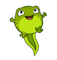 cartoon of cute happy joyful baby tadpole pollywog vector image