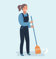 character cleaner lady or janitor woman vector image vector image
