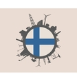 Circle with industrial silhouettes Finland flag vector image vector image
