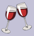 colored continuous line drawing glasses wine vector image vector image