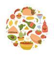 colorful hand drawn set mexican food cartoon vector image vector image