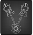 crankshaft and two pistons on a gray vector image vector image