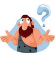 curious caveman asking questions cartoon vector image