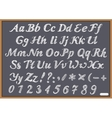 English alphabet letter Latin on chalk Blackboard vector image vector image