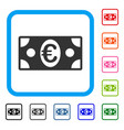 euro banknote framed icon vector image vector image