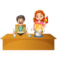father and mother having meal on the table vector image vector image