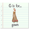 Flashcard alphabet G is for gown vector image vector image