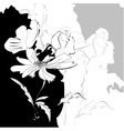 floral monochrome background vector image vector image