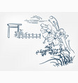 flower japanese sketch engraved chinese view vector image vector image
