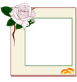 Frame with light pink rose and rings EPS10 vector image vector image