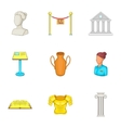 Gallery in museum icons set cartoon style vector image vector image