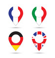 germany italy france uk flags geolocation sign vector image vector image