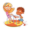 girl and boy ride on small carousel vector image