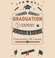 graduation ceremony announcement class of 2018 vector image vector image