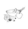 hand drawn sketch of wassail or traditional drink vector image vector image