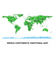 happiness world continent map collage of vector image