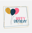 happy birthday card design with flat color vector image