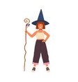 happy little girl in witch hat holding magic cane vector image vector image