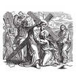 jesus carrying the cross on the way to calvary vector image vector image