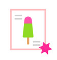 lemon-berry ice cream on a stick icon flat vector image vector image